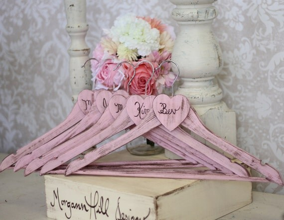 Personalized Wedding Hangers Shabby Chic Bridesmaid Gifts SET OF 4 (item P10497)