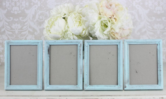 Wedding Frames 5x7 Vintage Inspired Shabby Wedding Decor SET of 4 (item P10196)