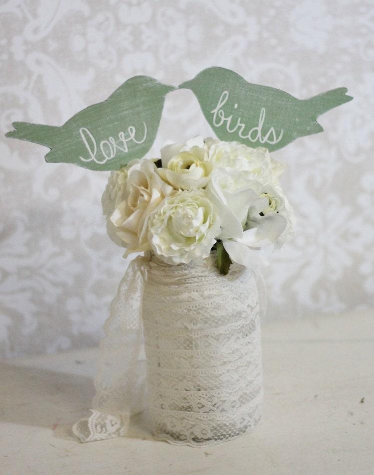 Wedding Cake Topper Love Birds Shabby Chic Wedding by ...