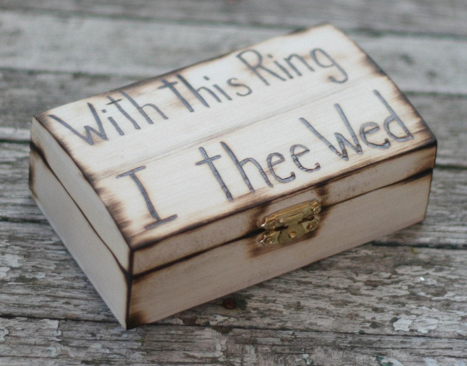 Rustic ring bearer pillow engraved wood box with by for Cute engagement ring boxes