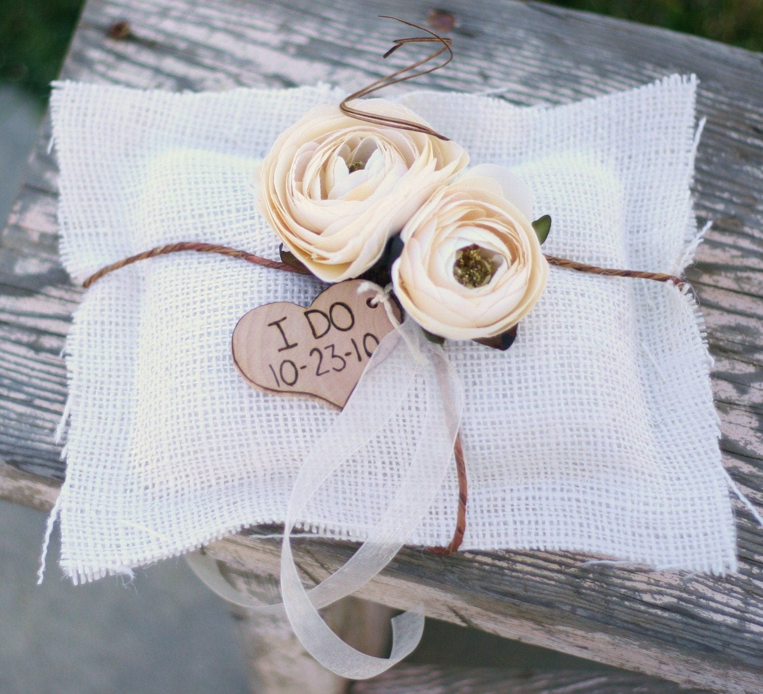 vintage wedding ring pillow burlap pillow by braggingbags