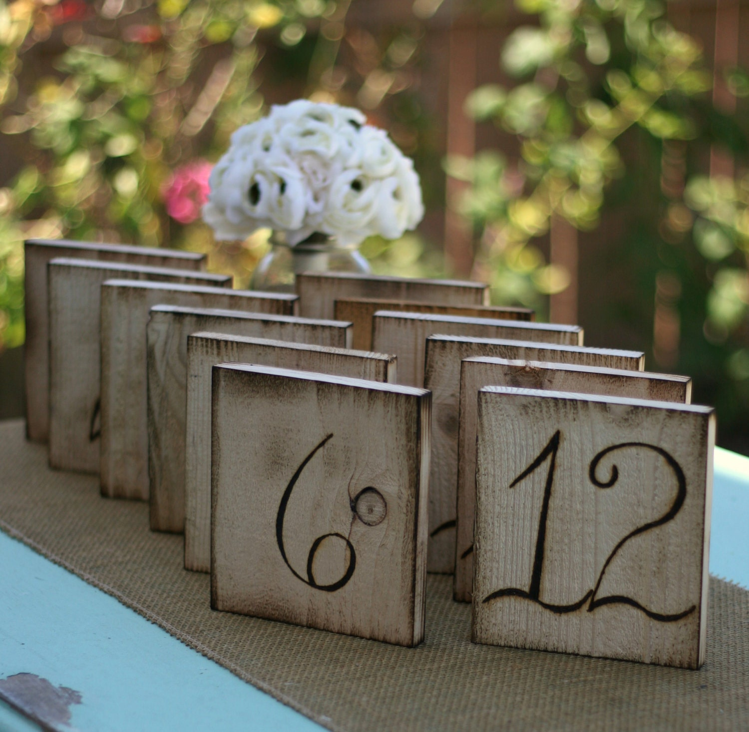 Superb img of Items similar to Wood Table Numbers Rustic Wedding Chic (item E10116  with #3D778E color and 1500x1467 pixels