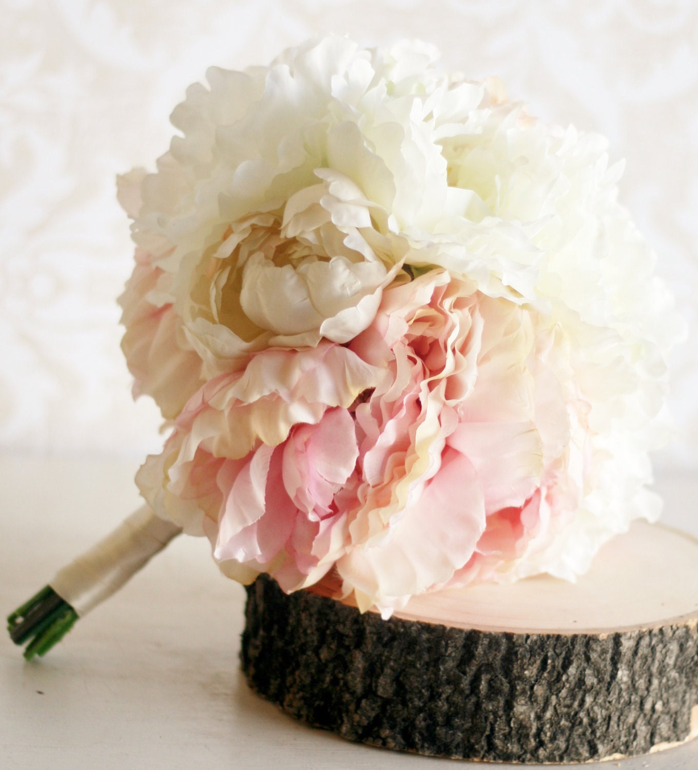 Silk bride bouquet peony flowers peonies shabby by for Bouquet chic