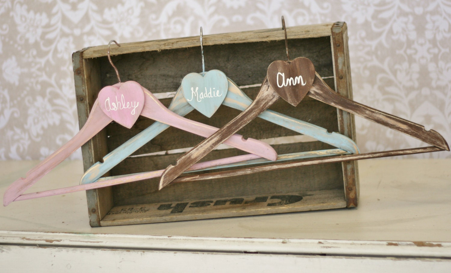 Etsy Wedding Gift For Bride : Personalized Wedding Hangers Bridesmaid Gifts SET by braggingbags