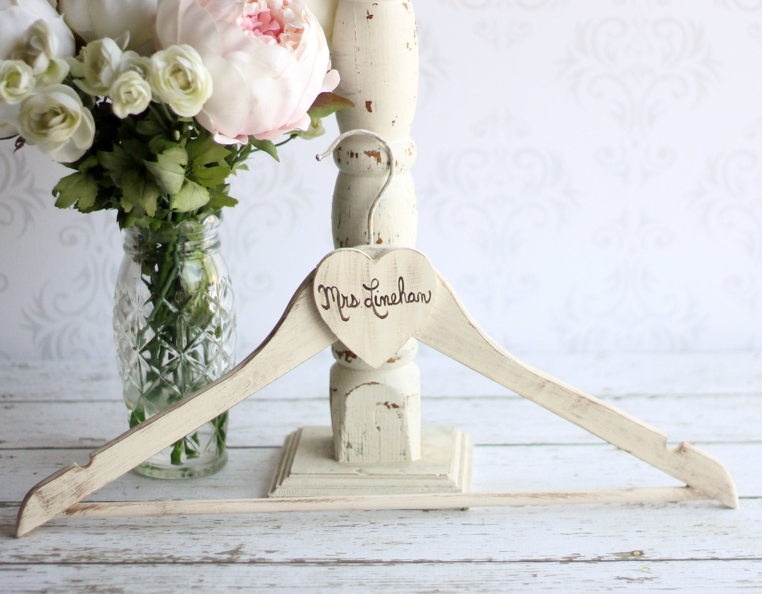 Personalized wedding dress hanger shabby chic by braggingbags for Custom wedding dress hanger