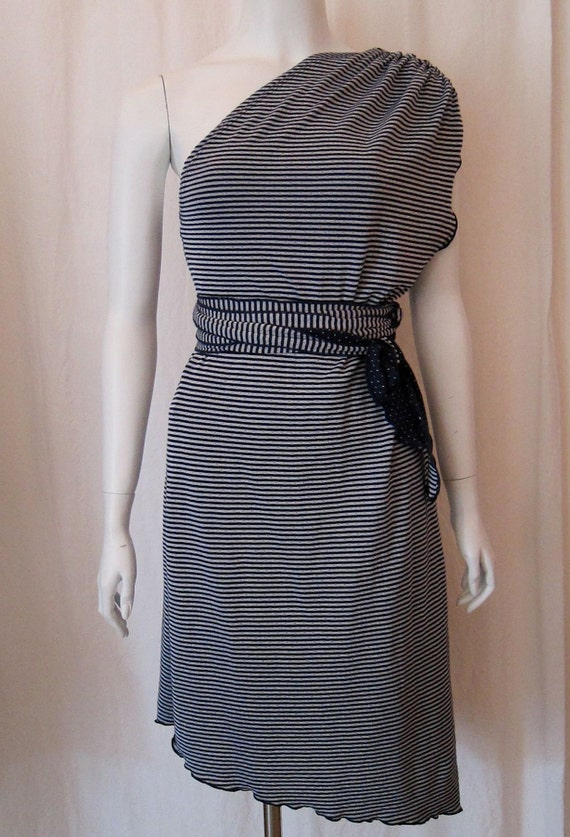 One Shoulder Assymetric Hem Tie Dress