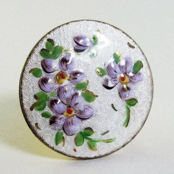 1950s Vintage Scarf Ring Purple Flowers Guilloche Enamel Scarf Slide