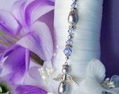 Lavender Wedding Angel Bouquet Charm Swarovski Crystal and Pearl Bridal Bouquet