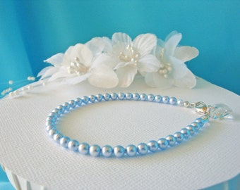 Something Blue Bracelet Swarovski Crystal Wedding Jewelry