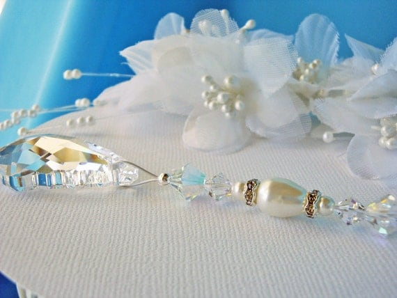 White Ceiling Fan Pull Chain Swarovski By Crystalbluedesigns