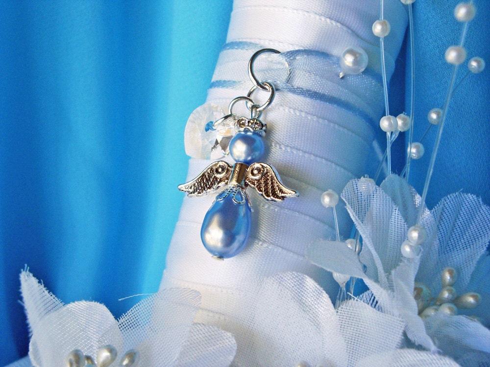 Blue Bridal Bouquet Charm : Something blue wedding bouquet charm angel by