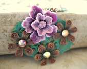 SALE - Two Tone Purple Flower and Copper Collage Necklace NC09