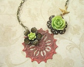 SALE - Dusty Rose and Pear Green Hand-Painted Asymmetrical Necklace NHP24