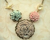 Ruffled Gray Peony Bouquet Necklace NB08