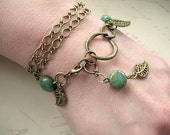 Filigree Leaf and Marbled Turquoise Green Beaded Wrap Bracelet BW01