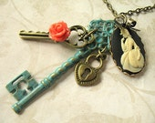 The Charlotte Cameo Hand-Painted Skeleton Key Necklace NK04