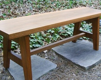 Custom Hand Crafted 45 Inch Solid Honduras Mahogany Bench in Natural or Mahogany Stain