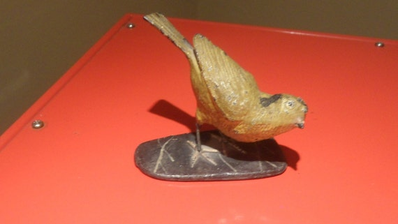 Vintage Antique Cast Iron Tole Painted Bird - SALE