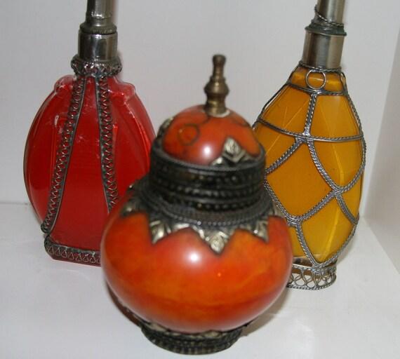 Vintage Antique Rose Water Perfume Bottle Vanity Set - Reserved for tte131