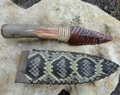 Flintknapped Obsidian Knife with Snakeskin Sheath