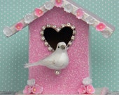 Sweet Pink Valentine's Day Birdhouse with Rhinestones Millinery and Glitter
