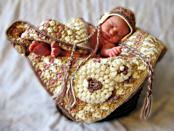 Sheep Newborn Gift Set Blanket and Hat Crochet Patterns