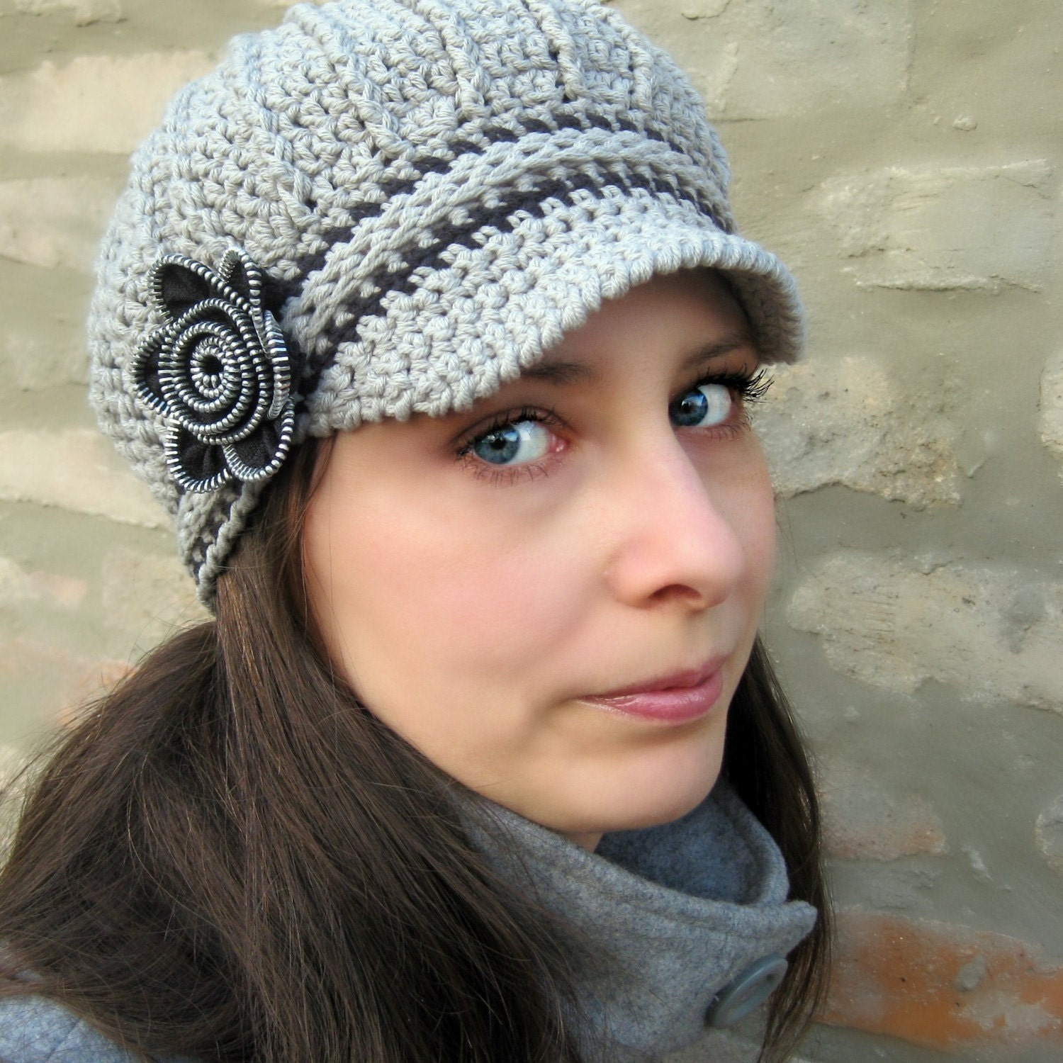 Newsboy Hat with Zipper Flower Crochet Pattern And Tutorial Etsy