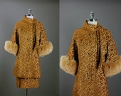 Vintage 50s 60s  Rare LILLI ANN Tapestry Silk Fox Fur Formal Cocktail Party Dress Coat S