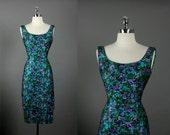 Vintage 1950s 50s Elegant  HOLLYWOOD  Silk Pink Rhinestones Beaded Cocktail Party Wedding Dress S