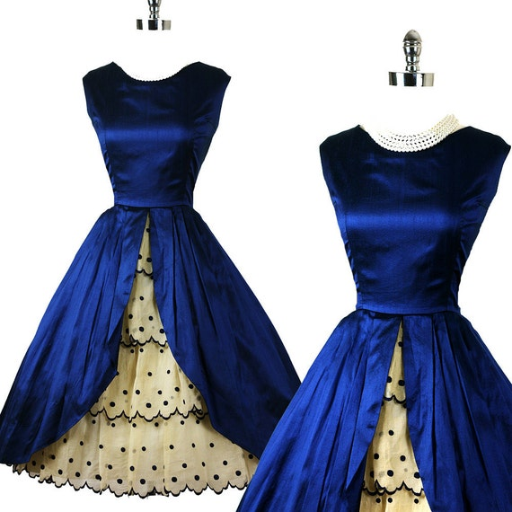Vintage 1950s 50s Demure Bombshell Peek A Boo Embroidered Ruffle Organza Skirt  Cobalt Silk Cocktail Party  Dress L FREE SHIPPING