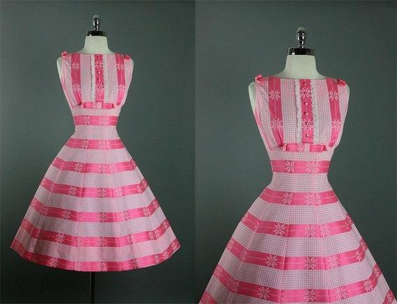 Vintage 50s Elegant Rare New Look Shelf Bust Garden Party Dress L
