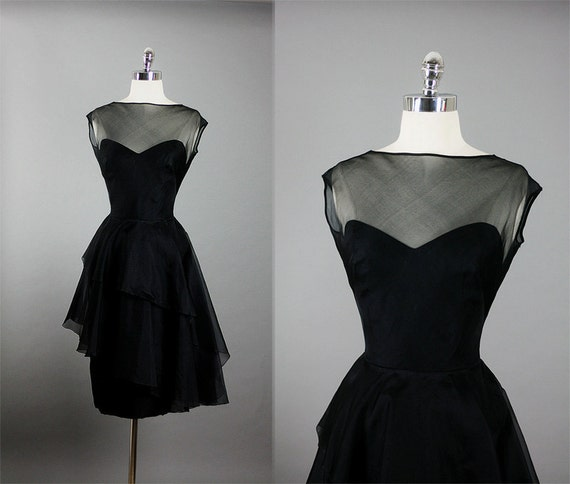 Vintage 1950s 50s Elegant Bombshell Organza Sophisticated Cocktail Party Dress S