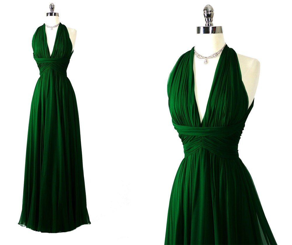 Vintage 60s 70s saks gorgeous forest green silk shelf bust for Forest wedding dress vintage