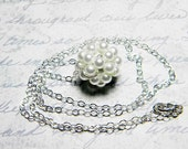 "White Glass Pearl Necklace Beadweaving Sterling Silver - ""Floating Pearls"" by Whimsy Beading"