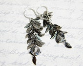 "Steampunk Gunmetal Leaves Earrings Crystal Vitrail Roundelles Sterling Silver - ""Botanical Alchemy"" by Whimsy Beading"