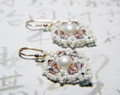 "Crystazzi Matte Rose Pearl Earrings Swarovski Vintage Rose Rose Gold  - ""Victoria's Wedding"""