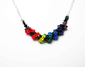 Roy G Biv - Rainbow Swarovski Crystal Sterling Silver Necklace