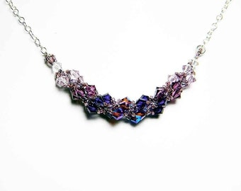 "Purple Swarovski Crystal Necklace Light Amethyst Amethyst Purple Velvet and Sterling Silver -  ""Le Gothique"" by Whimsy Beading"
