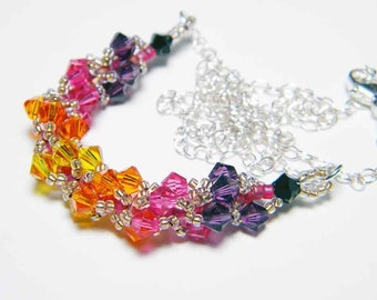 Custom Color Swarovski Spiral Necklace Sterling Silver
