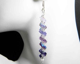 "Purple Swarovski Crystal Earrings Violet, Tanzanite, Purple Velvet Goth Spiral Beadweaving - ""Shades of Twilight"" by Whimsy Beading"