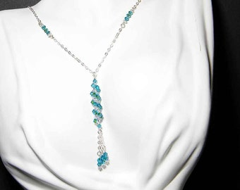 "Swarovski Crystal Y-style Necklace Custom Colors, Sterling Silver - ""The Charming Miss M"" by Whimsy Beading"