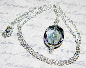 "READY TO SHIP Steel Blue Iridescent Oval Crystal Necklace, Sterling Silver - ""Magic Mirror"""