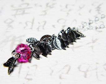 "Steampunk Dark Gunmetal Leaves Necklace Hot Pink Roundelle Sterling Silver - ""Sublime Leaves"""