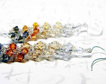 "Metallic Swarovski Crystal Earrings Silver Shade, Golden Shadow, Light Colorado Topaz, Crystal Copper, Bronze  - ""Precious Metals"""