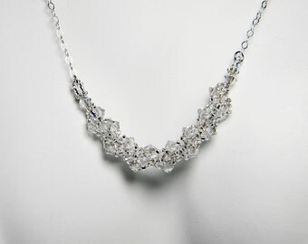 """Silver Swarovski Necklace Silver Shade Beadweaving Sterling Silver - """"Simplicity"""" by Whimsy Beading"""