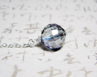 "READY TO SHIP Iridescent Steel Blue Crystal Necklace Sterling Silver - ""Scryer's Orb"" by Whimsy Beading"