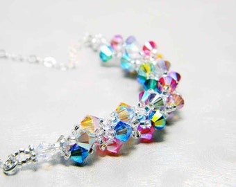 "Rainbow Swarvoski Crystal 2X AB Necklace Silver Lined Crystal Sterling Silver Beadweaving - ""Fairy Festival"""