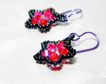 "Hyacinth Orange 2X AB Hot Pink Piano Black Star Earrings Beadweaving Purple Niobium  - ""Punk Rock Star"""