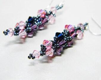"Rose and Amethyst Swarovski Crystal Earrings, Dark Indigo Rose 2X AB, Sterling Silver - ""Space"""
