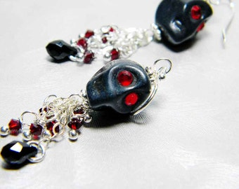"Black Skull Earrings Swarovski Crystal Sterling Silver Earwires - ""Kim's Calaverita"""